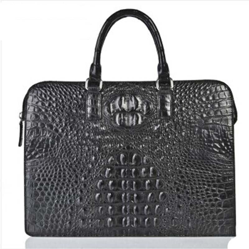 weitasi new arrival crocodile leather handbag fashion  business casual briefcase men's bag black  crocodile leather male handbag