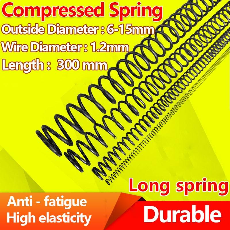 Resorte de presión largo, largo resorte de retorno de compresión, resorte fuerte Y cable de tipo diámetro de 1,2mm, diámetro de 6-15mm, longitud de 300mm