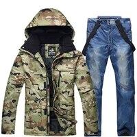 winter men camouflage ski suit warm windproof waterproof skiing suits male outdoor sport snowboarding ski jacket strap pants