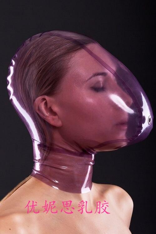 (Látex 25)100% máscara de látex natural capa de borracha fetiche roupa sufocar máscara