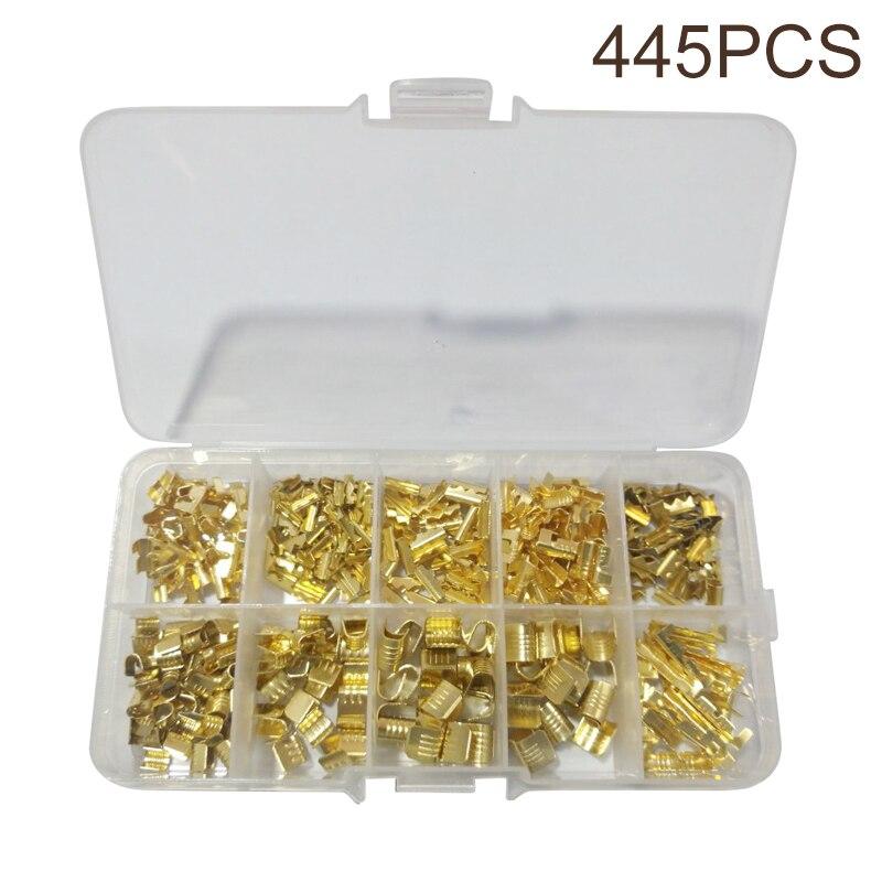 445 pces em forma de u terminal 0.5-1.5mm terminais de emenda frio-prensado conector cabo elétrico sertir fio conexão kit