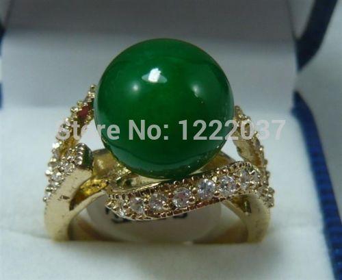 Pretty 12MM Green jade  Women' s Ring size 6 7 8 9