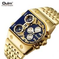 new quartz watch male 3 time zone military wristwatch luxury brand gold full steel big mens watches relogio masculino qw062