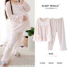 Spring and Autumn Pure Cotton Loose Sunken Stripe Bow Long Sleeve Pajamas Set Extra Large Size 200 J