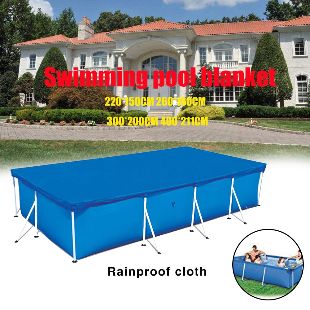 Ligero piscina cubierta impermeable de jardín espesar casa limpia Rectangular Anti polvo de poliéster fácil de usar por encima del suelo