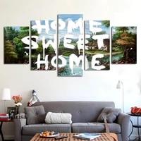 Mur decor peinture 5 pieces toile affiche paysage doux maison mur Art affiche et imprime nordique chambre decoration photo