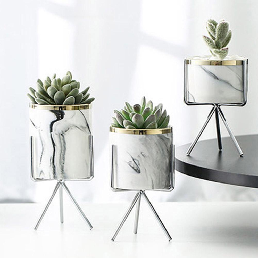 Home Garden Metal Bracket Ceramic Flower Pot Holder Art Plant Container Planter