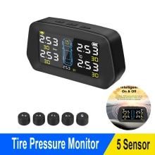 Car TPMS Solar Tire Pressure Monitoring Alarm Sensor Solar Power Digital LCD Display Auto Security A