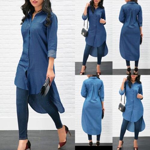 Camisa vaquera azul de manga larga informal suelta para mujer, blusa larga Yops
