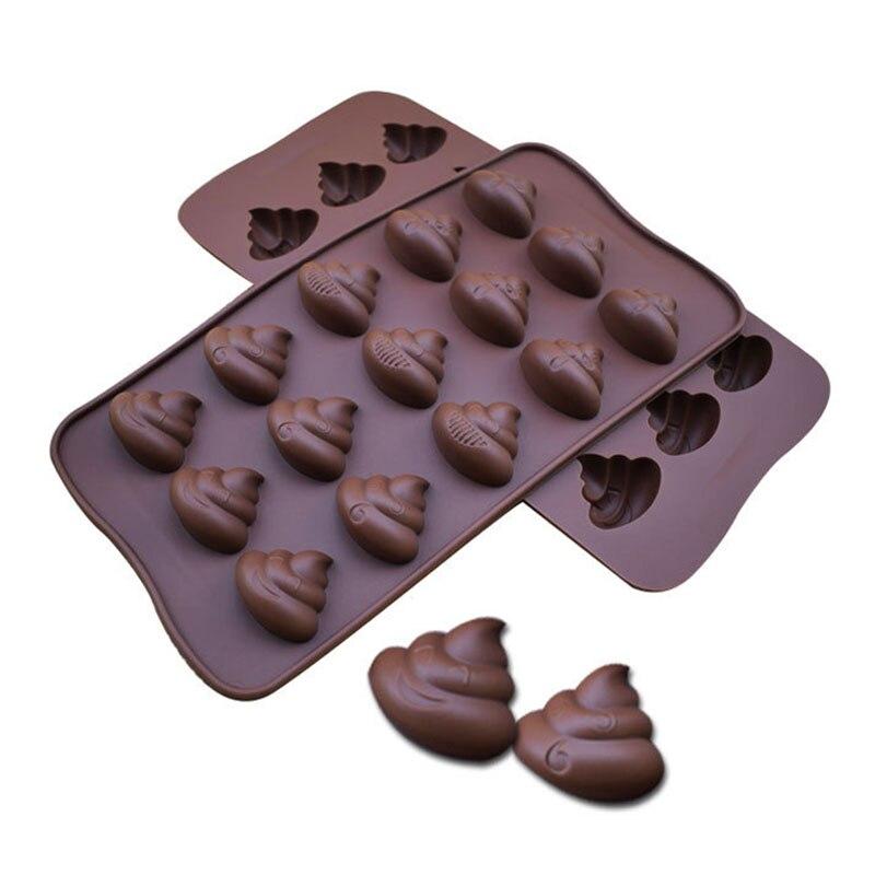 Ferramentas de cozimento de molde de gelo de geléia antiaderente cozinha gadgets fezes em forma de moldes de chocolate de silicone fácil limpeza molde de bolo