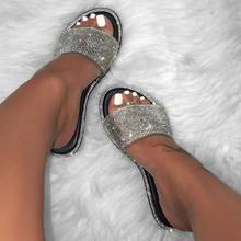 Bling Bling Slippers 2019 New Women Fashion Wild Beach Flip Flop Bright Diamond Flat Bottom Outdoor Wild Student Sandals
