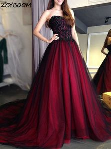 Wine Red Prom Dress 2021 Women Formal Party Vestidos De Gala A-Line Tulle Elegant Beads Sequins Graduation Long Evening Gowns