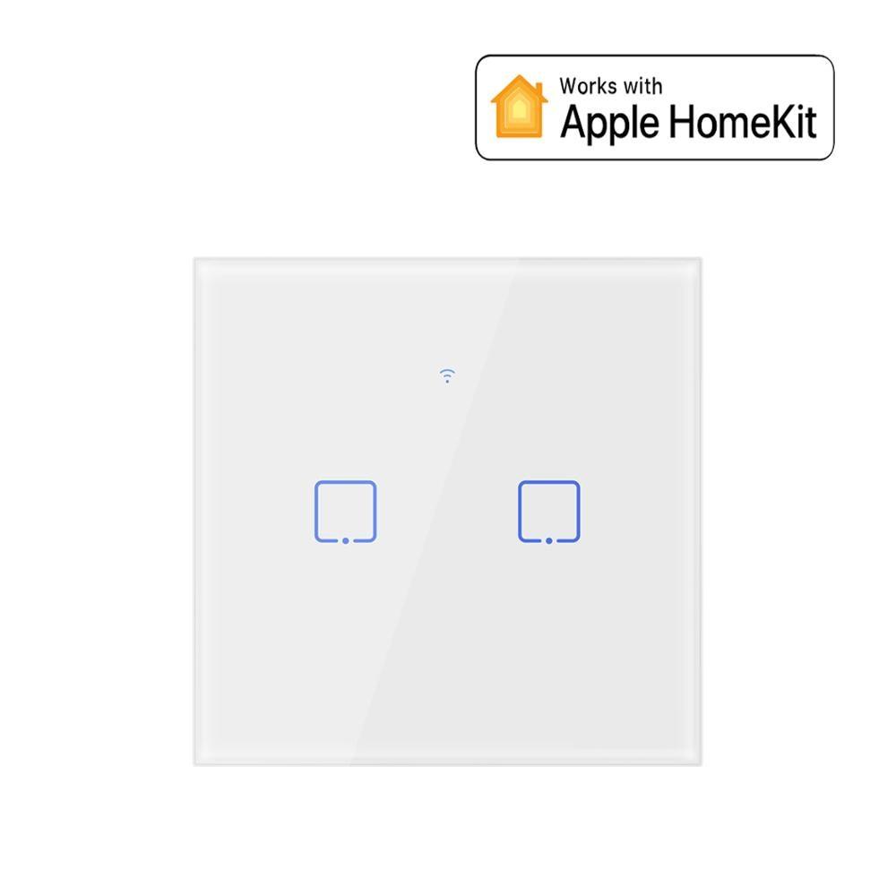 Interruptor inteligente, toque inteligente wifi interruptor de parede tipo eu funciona com apple homekit para luz inteligente doméstica controle de controle