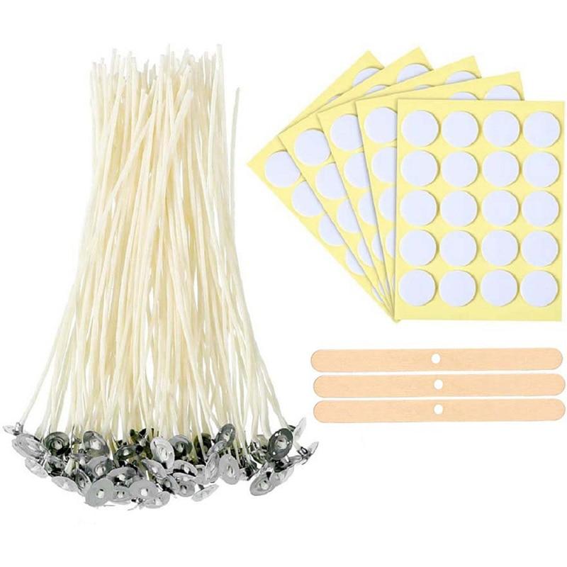 100 pçs vela pavio 10 pçs adesivos 3pcs fixador de madeira artesanal diy fazendo aromaterapia vela conjunto materiais