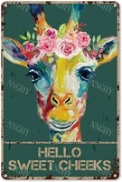 Citation drole de salle de bain en metal  signe en etain  decor mural Vintage Hello Sweet joues  girafe Foral  couronne en etain