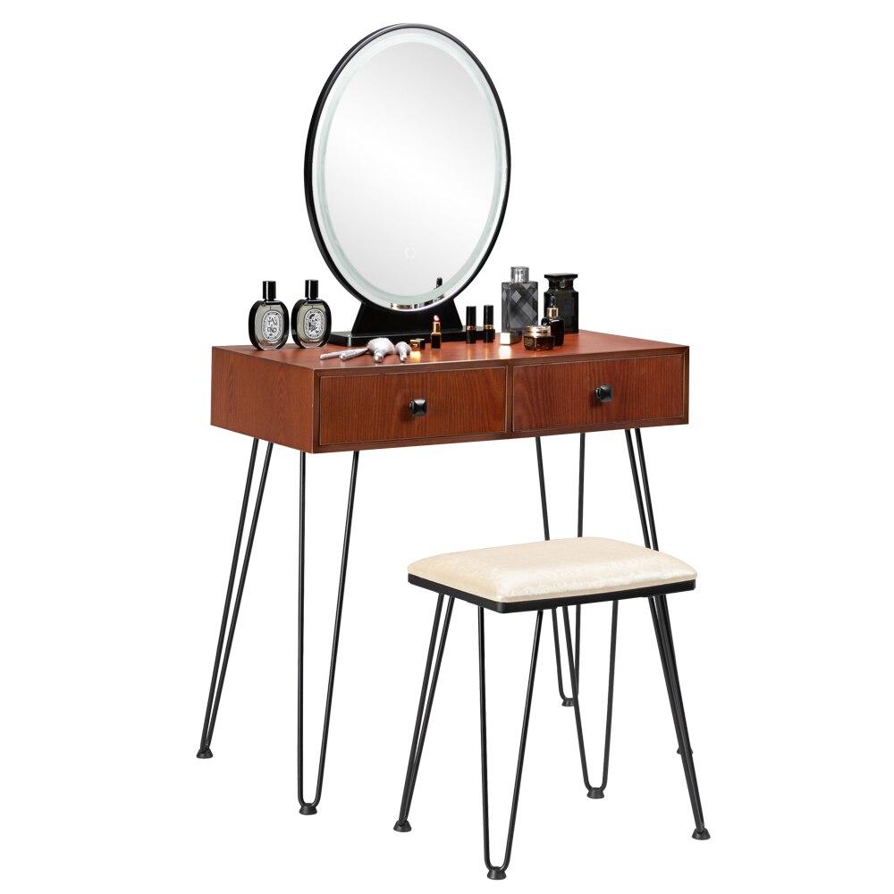Шкаф для спальни, железный туалетный столик, простой туалетный столик, черный, железный, коричневый, Рабочий стол светильник кой, трехцветны...