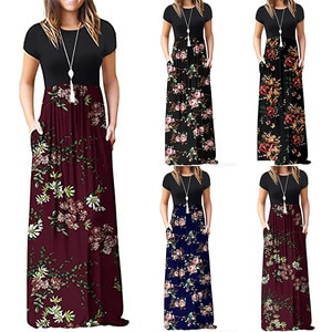 Long Dresses For Women Fashion Casual Summer Short Sleeve Dresses Ladies O-Neck Flower Printed Loose Pockets Long Dress