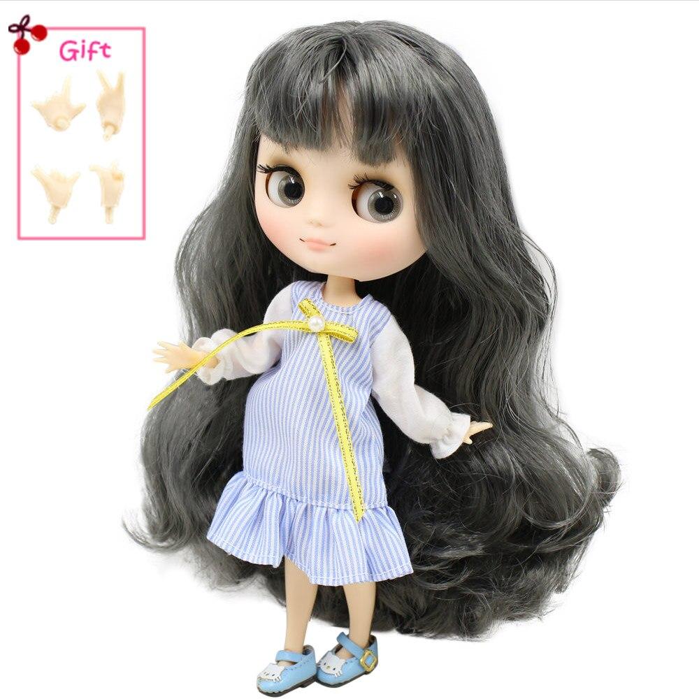 ICY DBS Middie Blyth boneca Series No.BL9016 Grey cabelo com franja Fosco rosto 1/8 bjd Neo