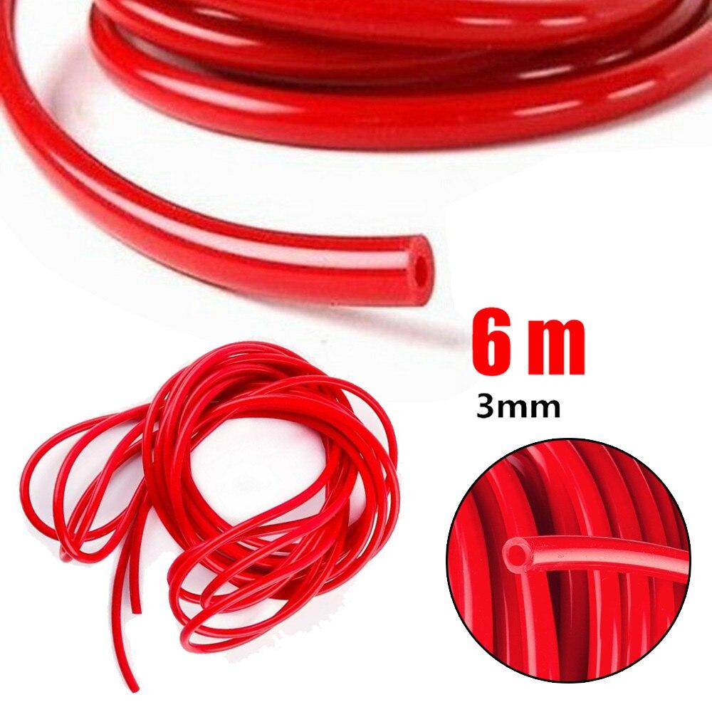 Для 20-футового 1/8 дюймов 3 мм топливный воздушный силиконовый вакуумный шланг Труба Красный анти-старения стайлинга автомобилей Стикеры акс...