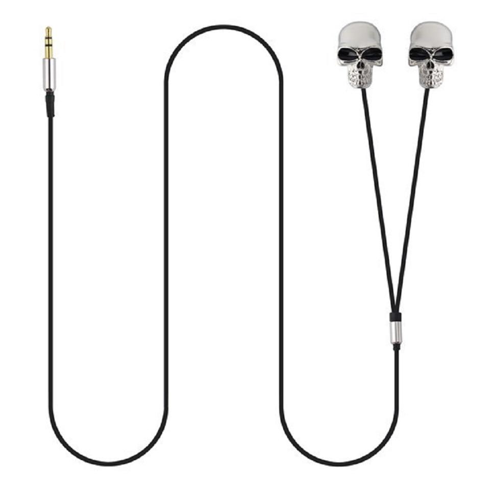 Crânio de metal original cabeça desgin fone de ouvido universal in-ear 3.5mm porto fones de prata esqueleto earbud para celular mp3 mp4 ipod