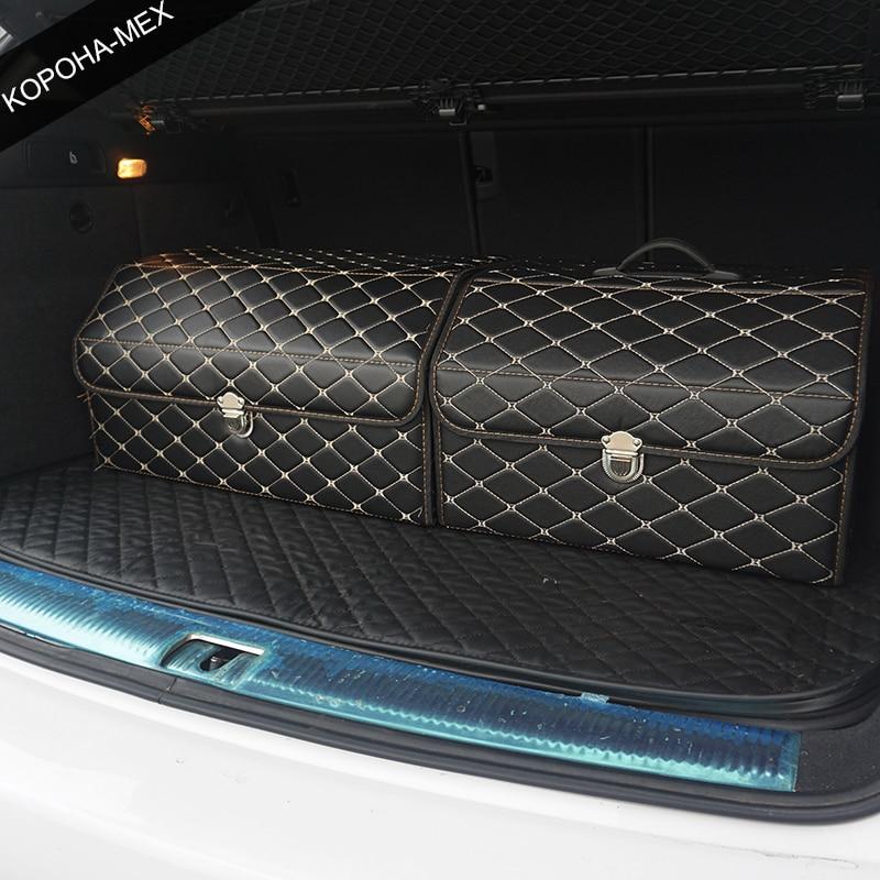 سيارة صندوق تخزين بولي Leather الجلود جذع المنظم حقيبة التخزين اللون الأسود-الذهب ل اكسسوارات السيارات سيارة المنظم ل الذكية 453 تيجوان