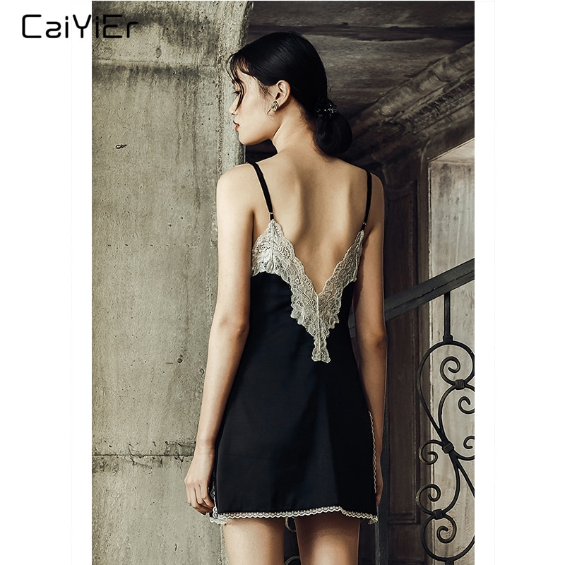 Caiyier Women Black Sexy Lace Nightgown Silk Stain Lingerie Night Dress Sleeveless Deep V-Neck Sleepshirts With T-Back