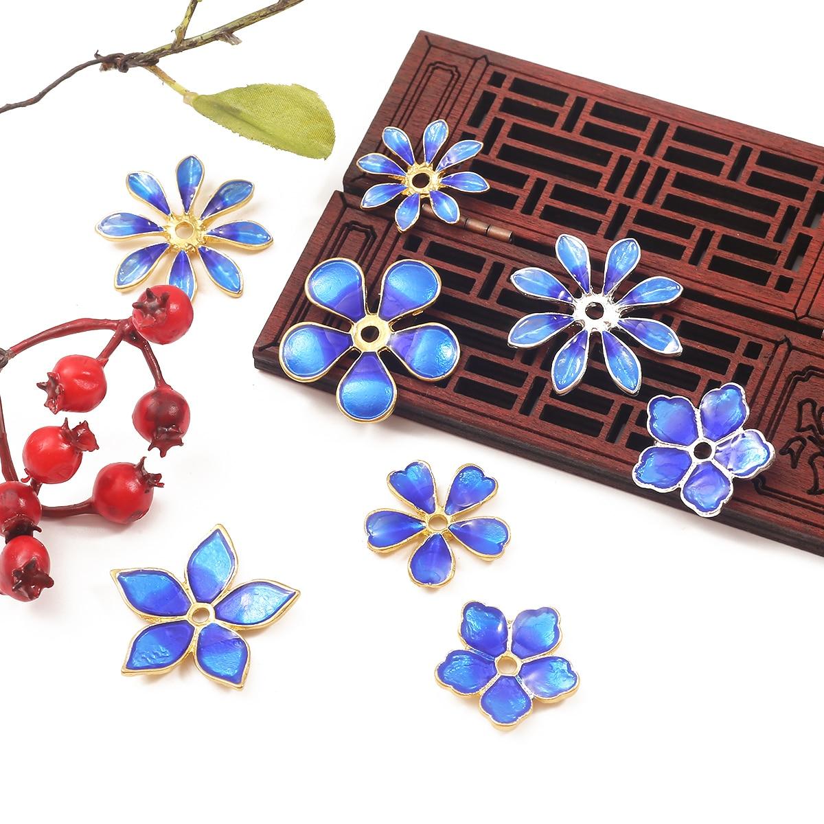 Novo 10 pçs cloisonne flores pulseira contas de liga óleo pintado esmalte brinco colar diy jóias descobertas para presente feminino