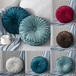 Luz de luxo cor pura veludo travesseiro almofada sala estar roda redonda futon bay janela almofada tatami casa têxtil