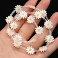 10pcs hot fashion natural flower shape white beads diy for necklace bracelet jewelry making women gift size 10mm 12mm