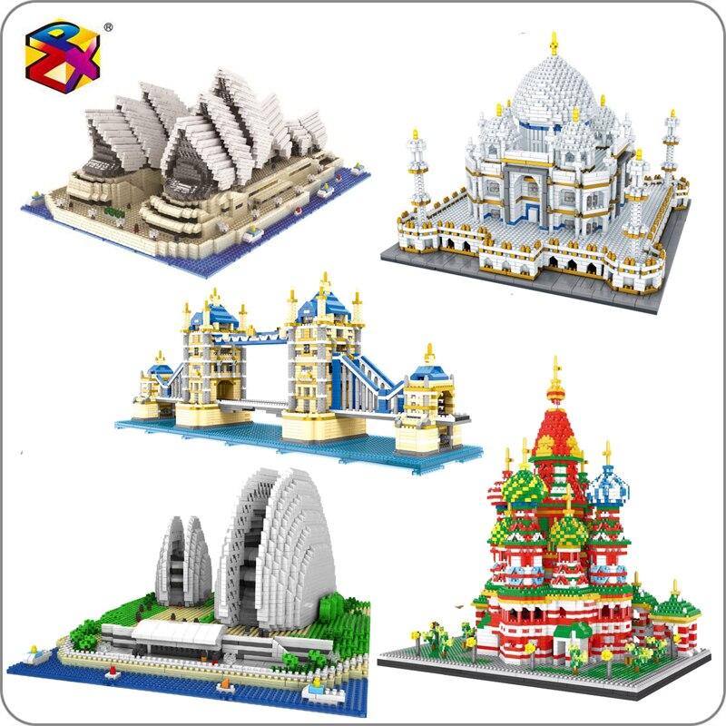 Architecture Sydney Opera House Taj Mahal Palace Tower Bridge Saint Basil's Cathedral Mini Blocks Diamond Building Toy no Box