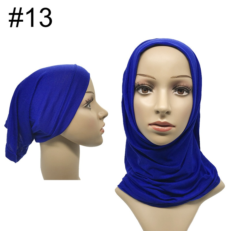 1 Set Women Muslim Scarf And Tube Cap Combination Solid Jersey Hijabs With Underscarf Hat Mercerized Cotton Turban Long Shawl
