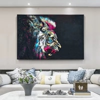watercolor lion canvas art paintings modern animals wall posters and prints lion art pictures for living room cuadros decoration