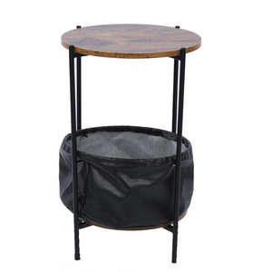 Side Table Wrought Iron Side Table Sofa End Tables with Fabric Storage for Coffee Living Room Small Space Bedside Table