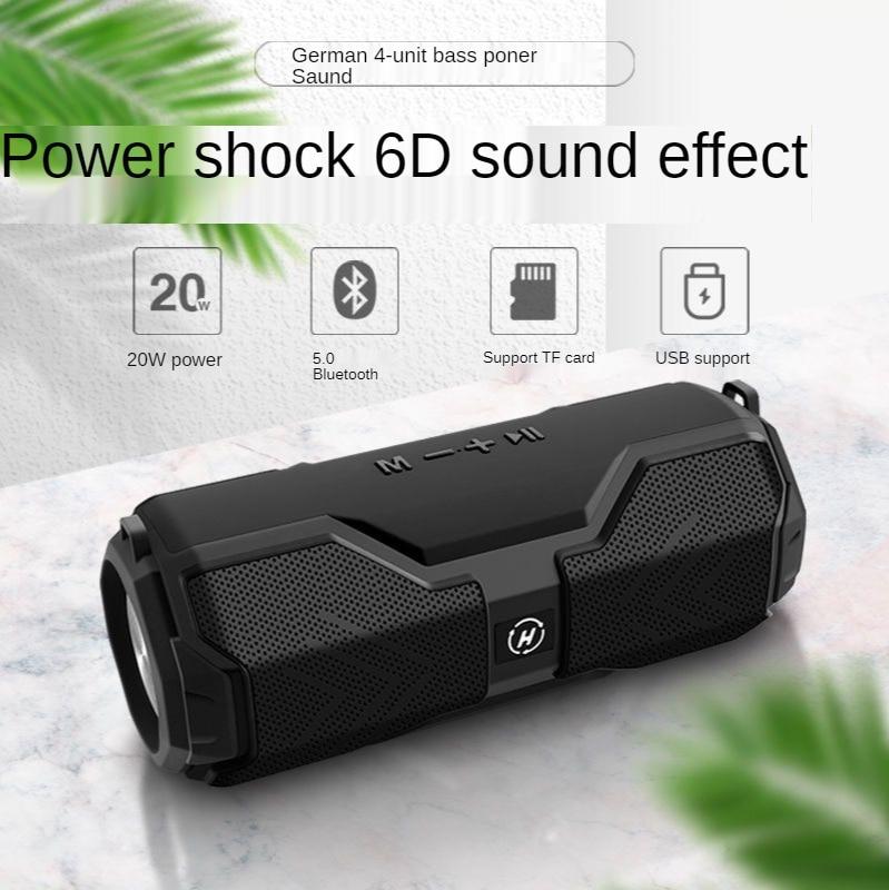 Bluetooth Music Bass Speaker Waterproof Portable Outdoor LED Wireless Column Loudspeaker Support TF Card FM Radio Aux Input enlarge
