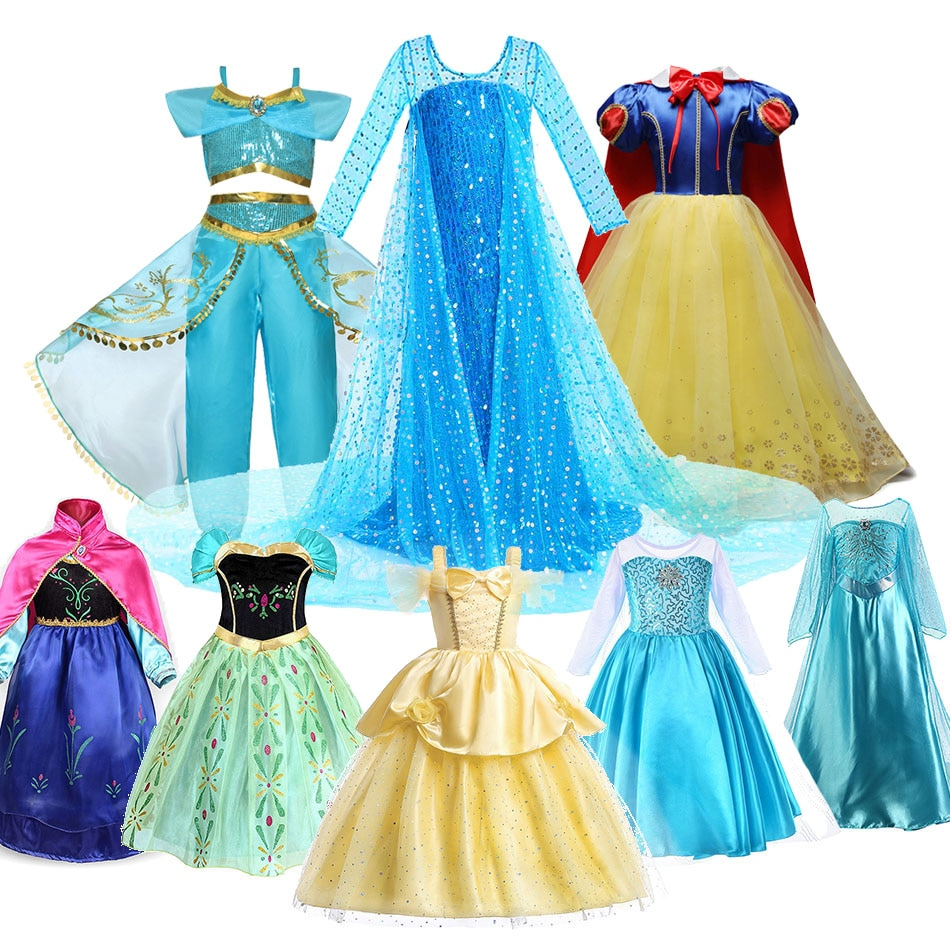 elsa gril kids fall outfits pyjama enfant anna princess birthday party roupas infantis menina halloween cosplay children clothes Girls Princess Costume Elsa Anna Mermaid Jasmine Beauty Snow White Dress Kids Little Girl Cosplay Birthday Party Halloween Dress