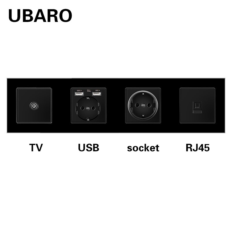 UBARO 344*86 خفف من الزجاج ضعف المقبس الحالي مع RJ45 RJ11 محطات إشارة التلفزيون Usb 5 فولت 2A لتقوم بها بنفسك مزيج المقابس مخرج طاقة