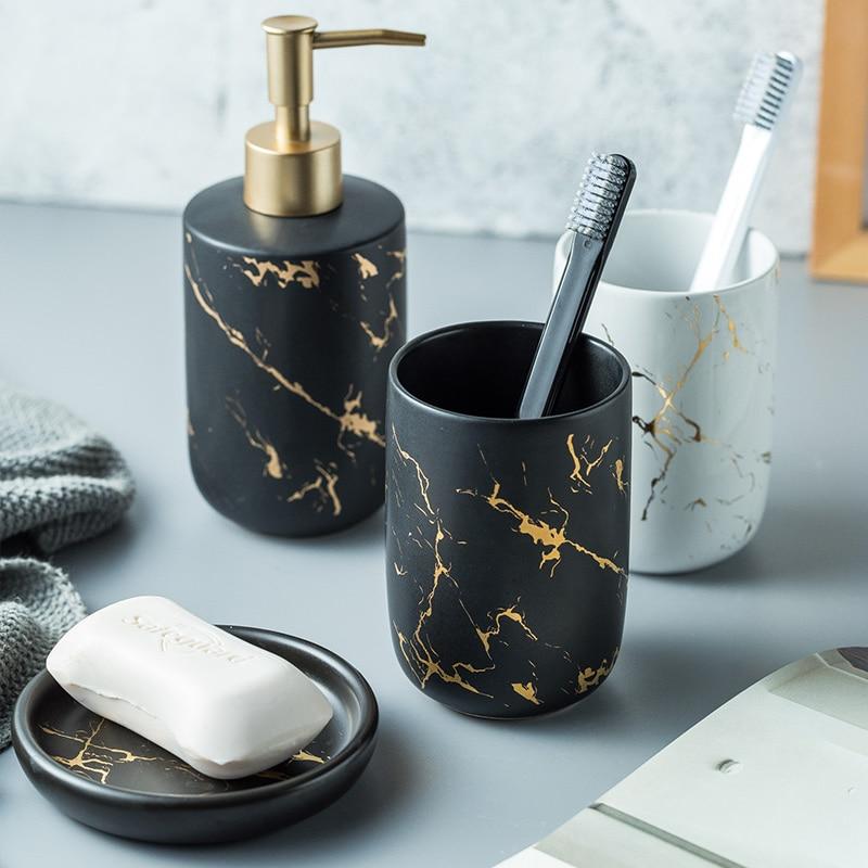 Juego de accesorios de baño de cerámica de lujo, dispensador de jabón de mármol, botella de bomba, taza de enjuague bucal para pareja en casa, herramientas de lavado de jabonera