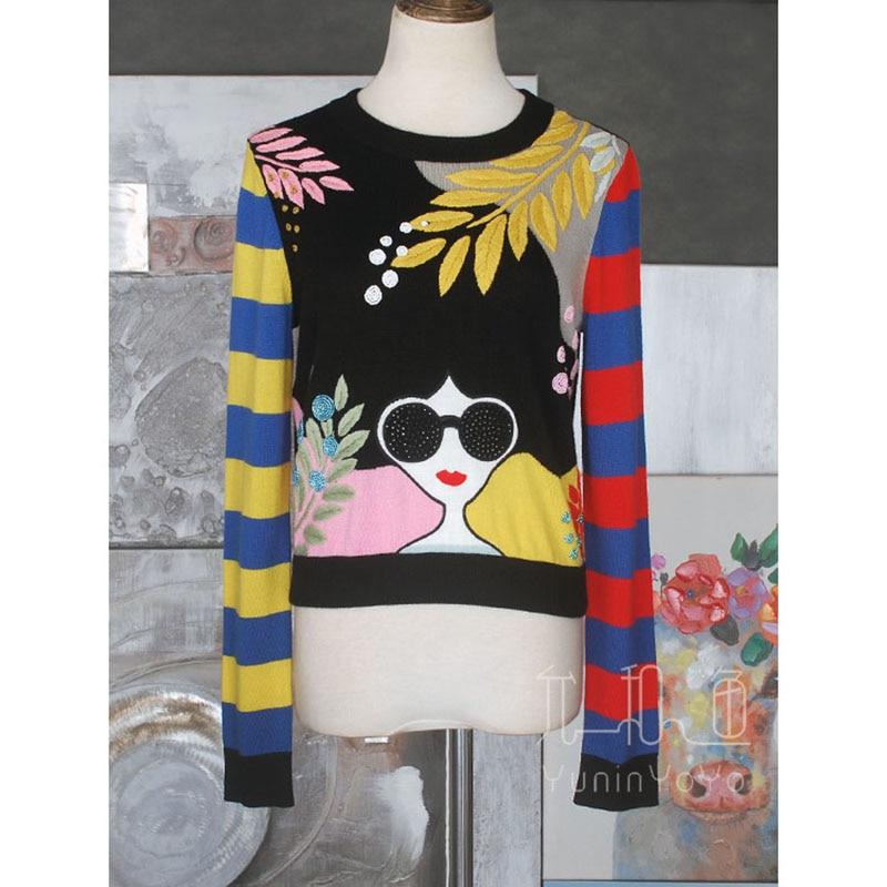 YUNINYOYO  iconic red lipped Sunglasses cool girl  heavy handcraft Hand Embroidered Beaded  custom dyed yarn 100% wool sweater enlarge
