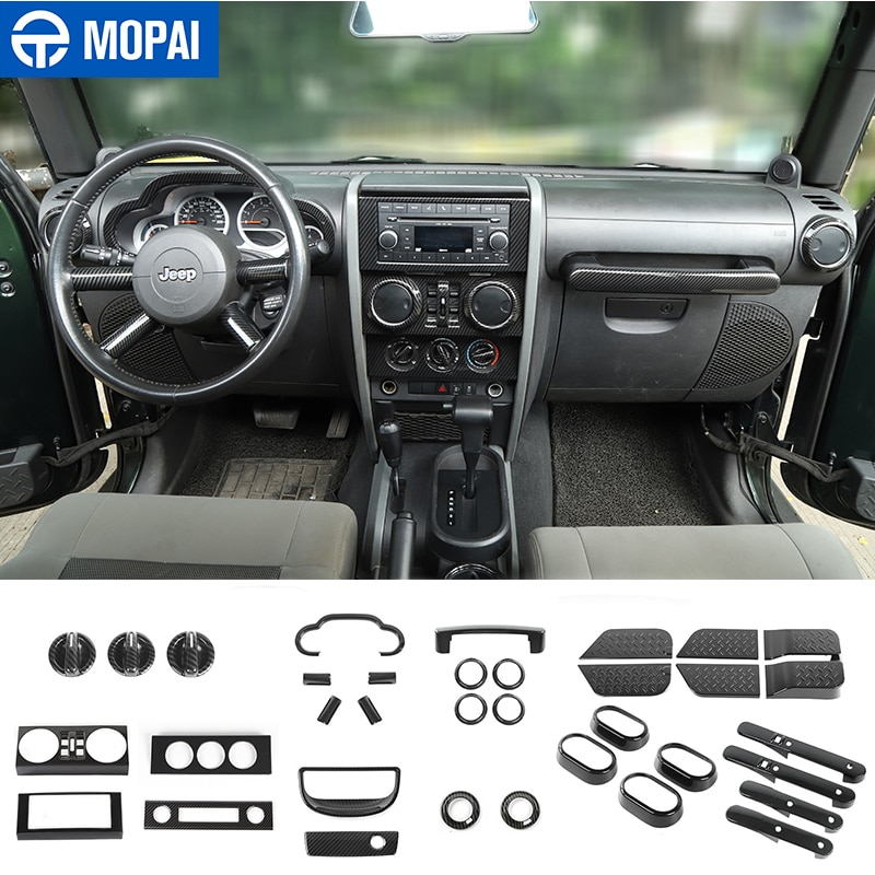 MOPAI Automotive Carbon Fiber Grain Stickers Car Interior Decoration Kit Accessories for Jeep Wrangler JK 2007 2008 2009 2010