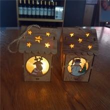 1 قطعة ضوء شاليه عيد الميلاد منزل خشبي شجرة عيد الميلاد قلادة لامعة خشبية سنو البيت زينة عيد الميلاد للمنزل