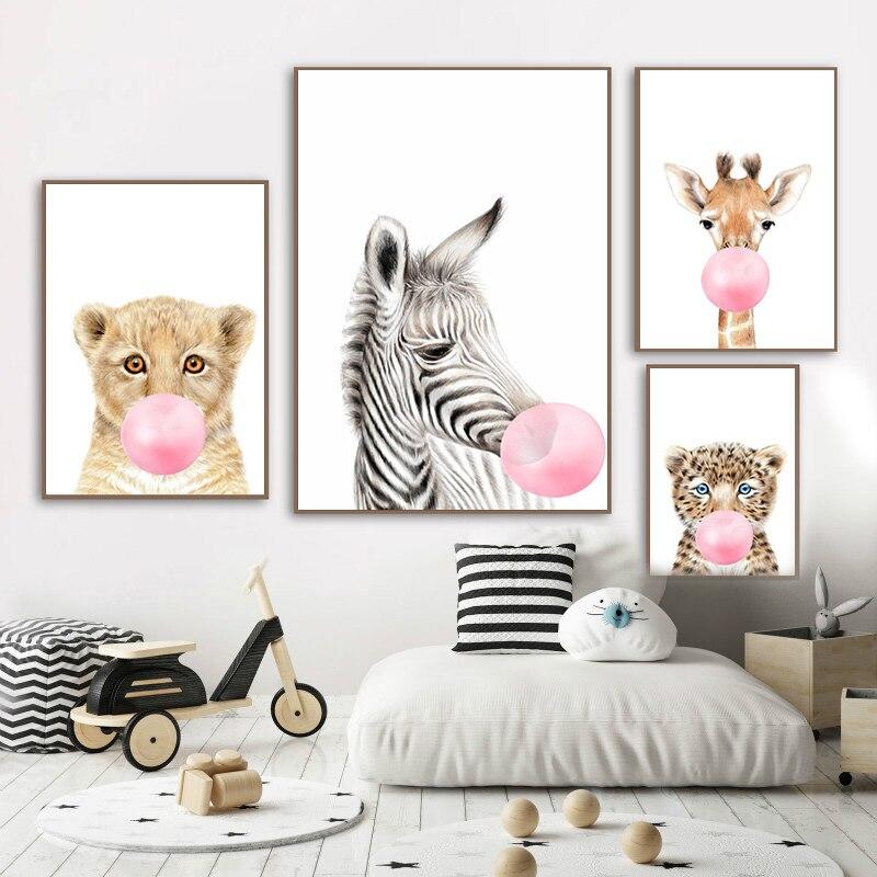 Herten Tijger Panda Dier Met Roze Bubble Canvas Schilderij Nursery Poster Afdrukken Wall Foto S Voor Baby Kids Kinderen Woonkamer