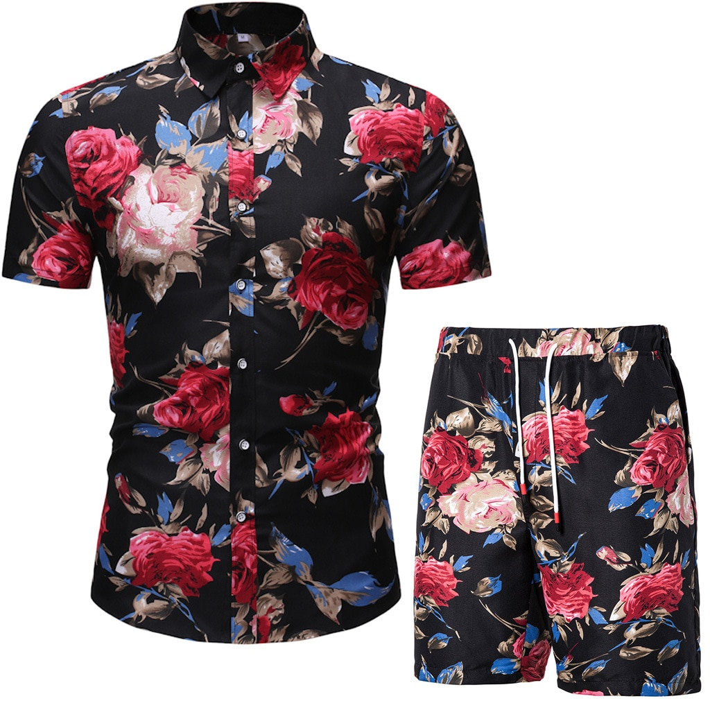 Summer fashion floral short-sleeved shirt + shorts suit men's beach short-sleeved shirt casual men's clothing set sportswear