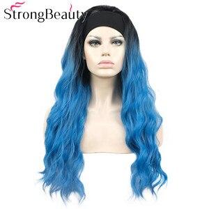 StrongBeauty Long Wavy Wigs Half 3/4 Women Wig With Headband Capless Synthetic Hair