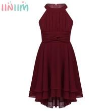Iiniim 여자를위한 높은 낮은 아이 드레스 여름 파티 드레스 하이틴 웨딩 vestidos 들러리 드레스 정장 쉬폰 의상