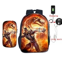 2 pcsset usb charge school bag scorpion in mortal kombat x mask backpack for teenagers students book bag daily laptop backpack