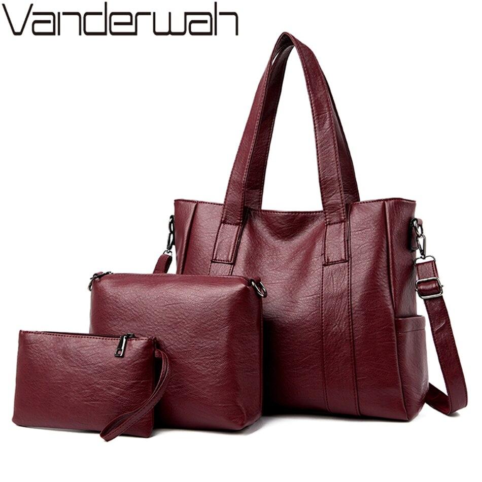 جديد 3 مجموعة المرأة حقيبة كتف جودة عالية لينة بولي Leather جلد السيدات حقيبة يد فاخرة المرأة حقائب مصمم سعة كبيرة حمل حقيبة كيس