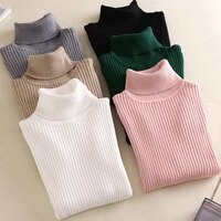 autumn winter women knitted foldover turtleneck sweater tops 2021 casual soft rib jumper femme fashion stretchable pullover