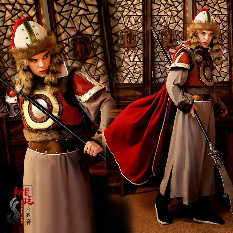 Antiguo chino armadura nacional minoría mongol General Battlegear película TV etapa disfraces Cosplay armadura antigua