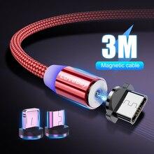 Lovebay 3 m magnético micro cabo usb para iphone samsung huawei xiaomi telefone tipo-c cabo ímã carregador cabo de fio de carregamento rápido