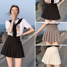 Sexy women short skirt cute female pleated skirt spring and autumn high waist solid color mini skirt